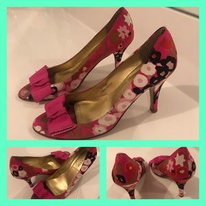 Pink Floral Shoes. Peep toe